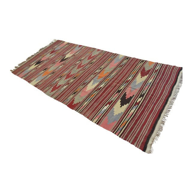 Antique Turkish Kilim Hand Woven Wool Large Runner Rug - 6′5″ × 13′8″ For Sale