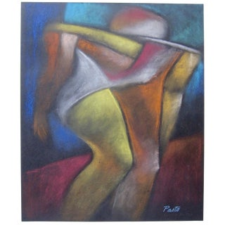 Vintage Abstract Cubist Man Pastel Drawing Sammy Pasto Signed Original For Sale