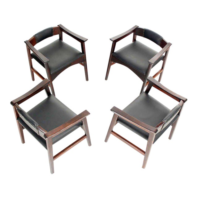 Set of very nice heavy bases, low profile yet very comfortable (with good lower back support design) chairs in style of...