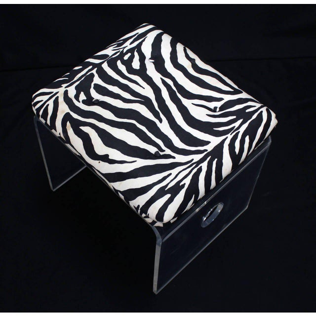 Pair of Bent Lucite Benches with Zebra Upholstery Cushions For Sale In New York - Image 6 of 8