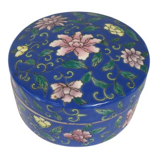 Vintage Chinese Porcelain Box For Sale