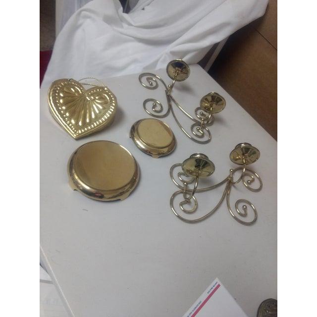Vintage Brass Decor Set- 5 Pc For Sale In Saint Louis - Image 6 of 6