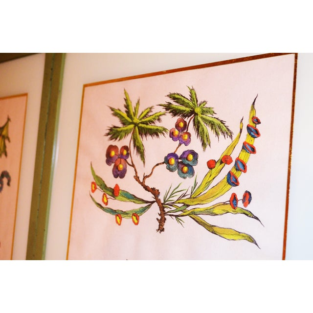 French Chinoiserie Hand Colored Floral Prints - Image 7 of 11