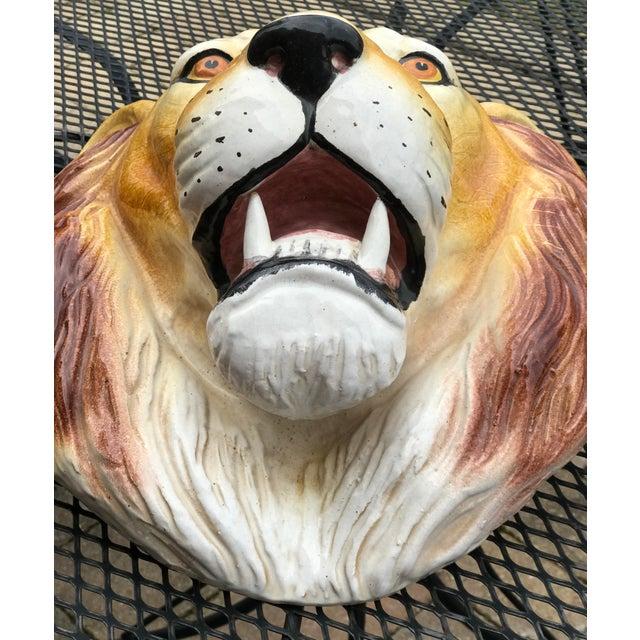 Mid 20th Century Italian Mid-Century Ceramic Lion Head Wall Sculpture For Sale - Image 5 of 11