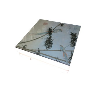 Large Neo Art Deco Coffee Table W/ Hand Painted Crane Pastel For Sale
