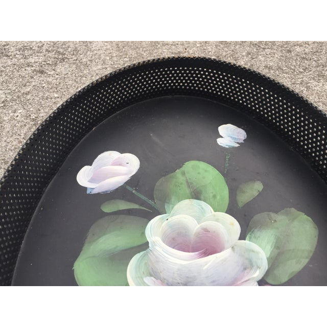 Green Small Hand-Painted Tole Tray Mesh Sides Floral For Sale - Image 8 of 10