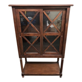 Wood & Glass Media Cabinet For Sale