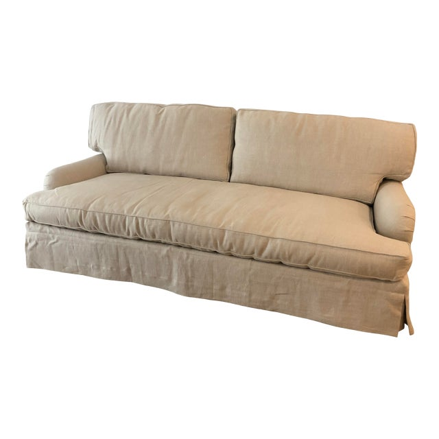 Lee Industries Down FIlled Belgain Linen Sofa For Sale