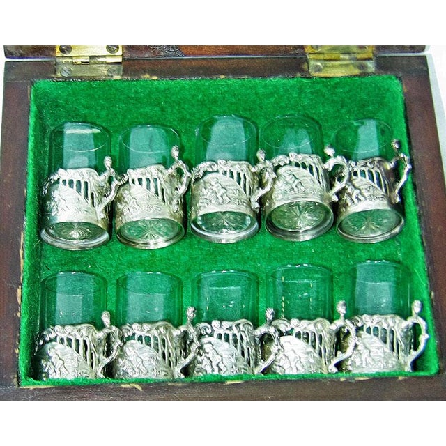 Blown Glass 19c Set of 10 Sterling Silver Shot Glasses by W Comyn & Sons – Rare For Sale - Image 7 of 8