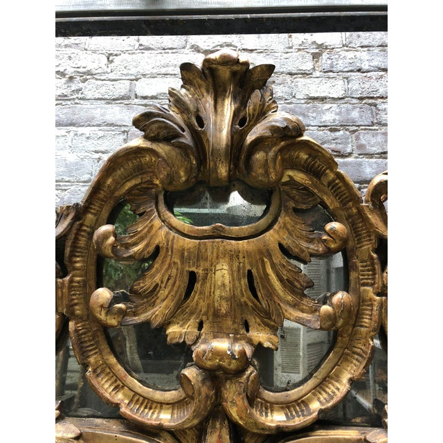 18th Century Carved Gilt Wood Louis XV Mirror, Provenance Paris France For Sale - Image 4 of 10