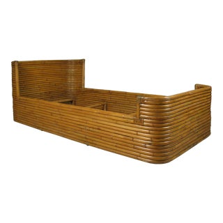 1940s Boho Chic Rattan Bed With Curved Corners For Sale