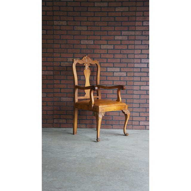 Brown Early 20th Century Antique French Provincial Carved Arm Chair For Sale - Image 8 of 9