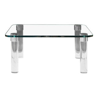Leon Rosen for Pace Collection Square Glass, Nickel, & Lucite Cocktail Table For Sale