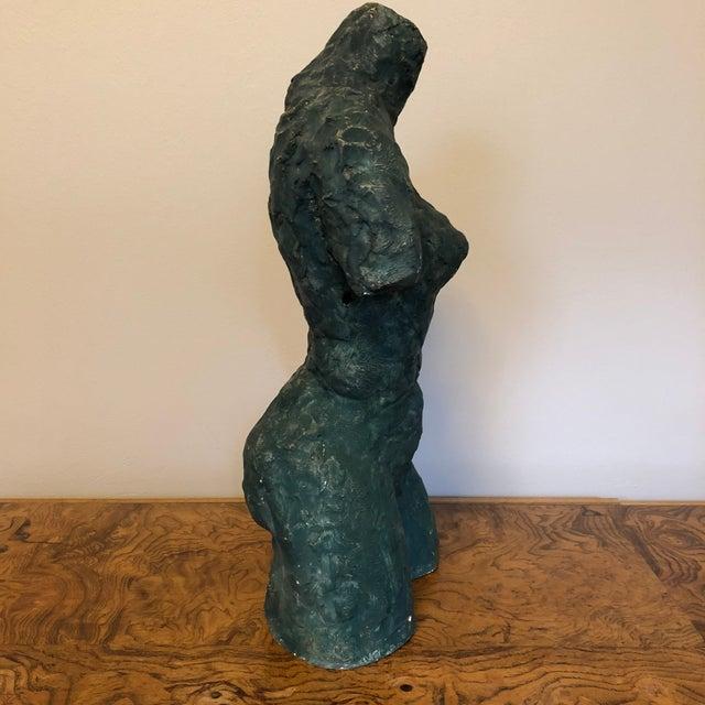 Ceramic Mid-Century Verdigris Nude Bust Sculpture For Sale - Image 7 of 11