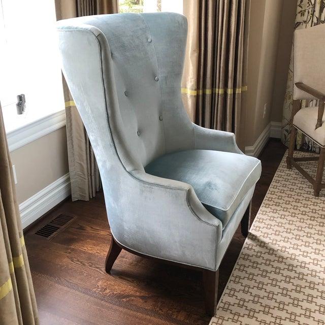 Wood Modern Charles Stewart Blue Velvet Wingback Chair For Sale - Image 7 of 8