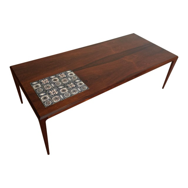 Johannes Andersen Rosewood Coffee Table With Tile Inlay Chairish - Coffee table with tile inlay