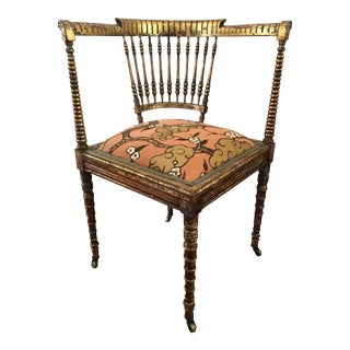 1900s Victorian Gilded Upholstered Corner Chair For Sale