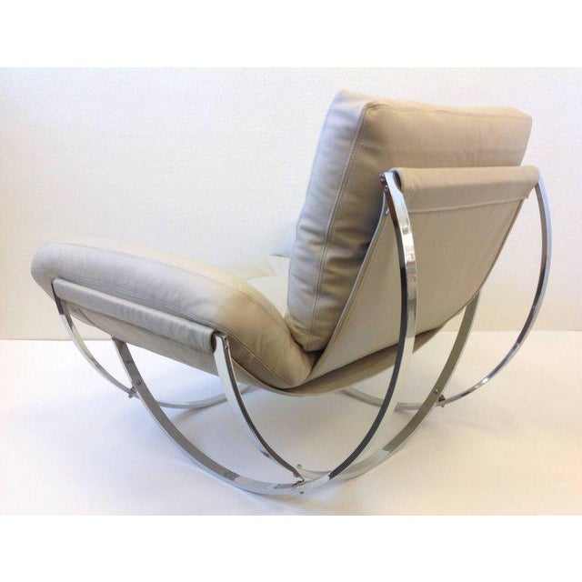Italian Polish Stainless Steel and Leather Lounge Chair and Ottoman by Leonart Bender for Charlton Co. For Sale - Image 4 of 13