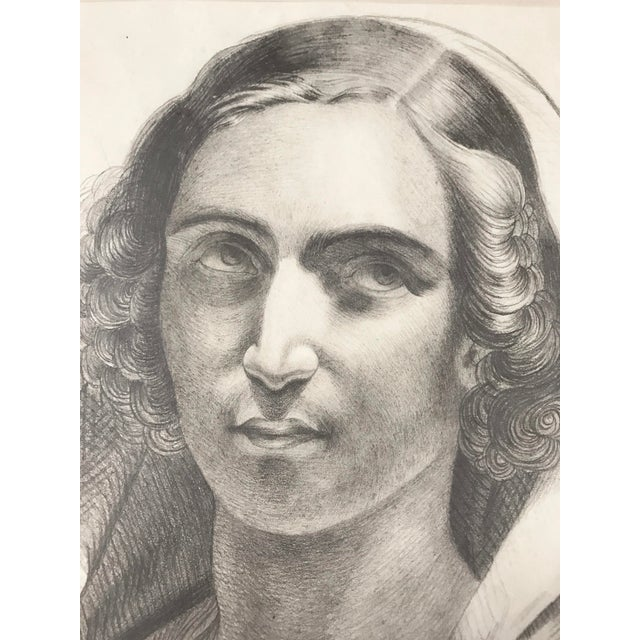 1847 French Portrait Drawing For Sale - Image 4 of 5