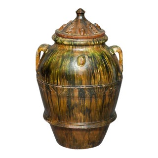 Green and Brown Glaze Large Covered Terracotta Garden Jar, Asian For Sale