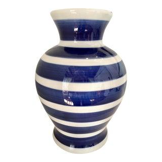 Blue & White Striped Vase