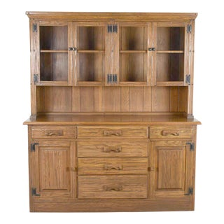 Vintage A. Brandt Ranch Oak Sideboard China Hutch Cabinet Western Rustic For Sale
