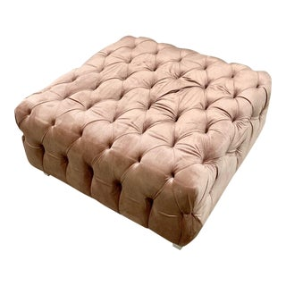 New Champagne Tufted Velvet Ottoman. Made to Order For Sale