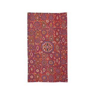 """Red """"Suzani"""" With Botehs Textile Rug - 5′9″ × 10′ For Sale"""