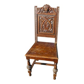 Vintage Spanish Style Carved Oak Wood Lion Head Motif Chair