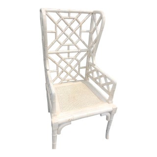 Guild Master Hollywood Regency Bamboo Wingback Chair For Sale