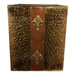 Vintage Late 20th Century Brass Fleur-De-Lis Wastebasket For Sale