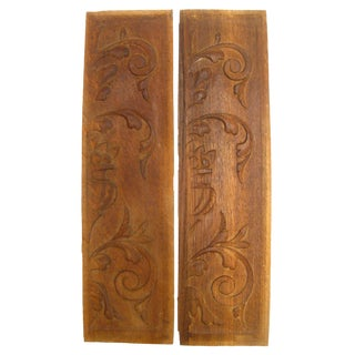 Vintage French Carved Wood Panels, A Pair For Sale