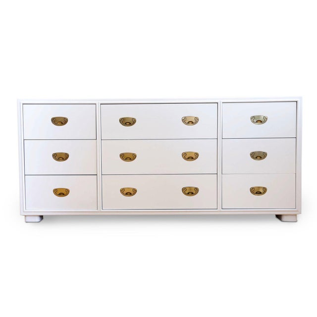 Metal Vintage White Lacquer Campaign Dresser by Drexel. For Sale - Image 7 of 7