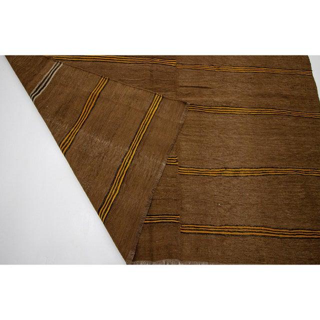 1960s 1960s Vintage Striped Brown Kilim Rug- 6′2″ × 10′7″ For Sale - Image 5 of 7