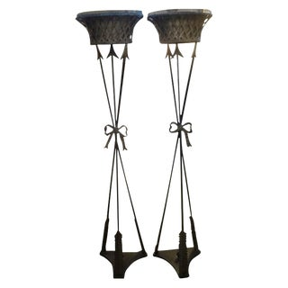 French Neoclassical Style Iron Torchieres - a Pair For Sale