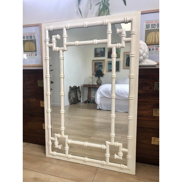 Vintage White Faux Bamboo Greek Key Wall Mirror For Sale - Image 9 of 9