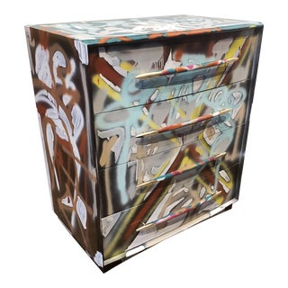 Graffitied Artist Painted Chest of Drawers For Sale
