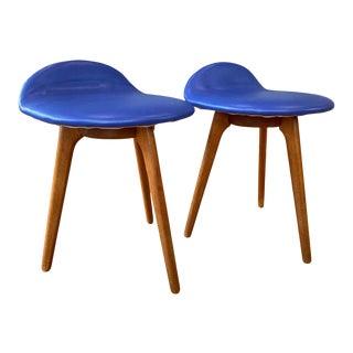 Pair of Erik Buch for Oddense Maskinsnedkeri Teak & Leather Lounge Stools, 1960s For Sale