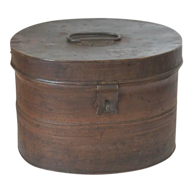 19th Century Original Brown Painted and Distressed Hat Box - Image 1 of 8