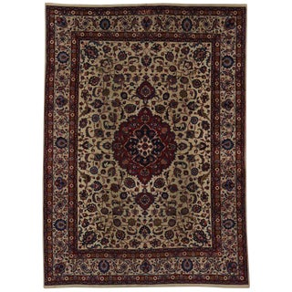 Antique Persian Mashhad Rug with Traditional Style