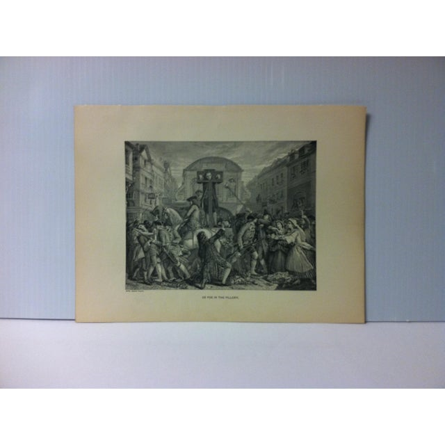 "Antique Black & White Print on Paper, ""Da Foe in the Pillory"", Circa 1880 For Sale - Image 4 of 4"
