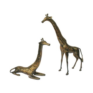 Vintage Brass Giraffes - A Pair For Sale