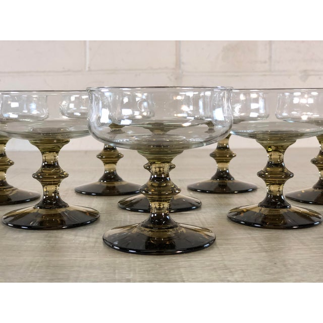 Vintage 1960s Smoked Base Glass Coupe Stems, Set of 8 For Sale - Image 4 of 9