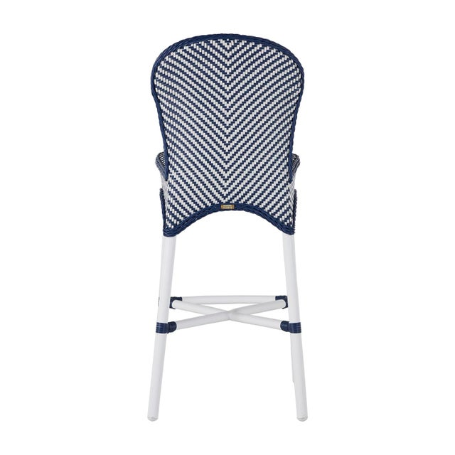 Transitional Savoy Bar Stool in Blue For Sale - Image 3 of 6