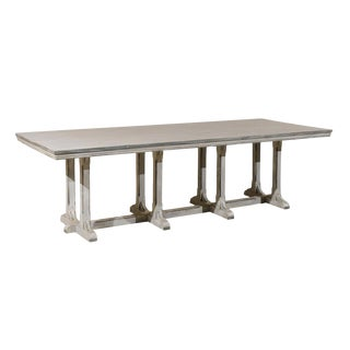 20th Century Rustic European Grey Painted Wood Rectangular Dining Table For Sale