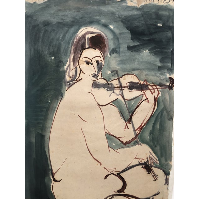 Figurative Mid-Century Female Nude With Violin Watercolor 1960s For Sale - Image 3 of 12