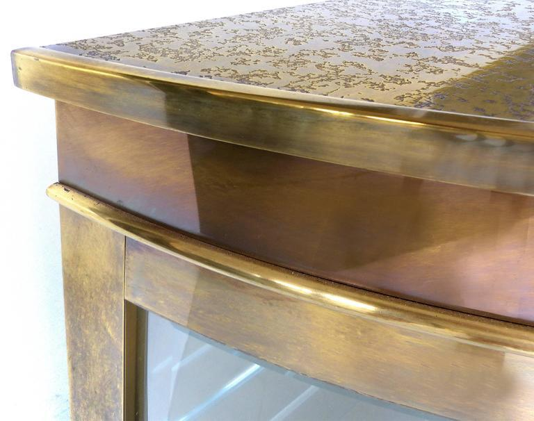 Mid Century Modern Brass Mastercraft Demilune Cabinet With Beveled Glass    Image 6 Of 11