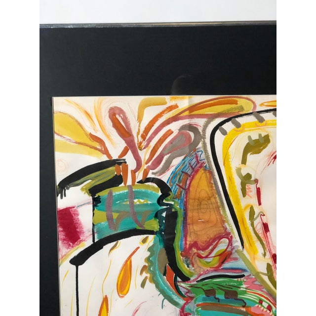 Mid-Century Modern C1970s Bold and Colorful Abstract Painting For Sale - Image 3 of 12