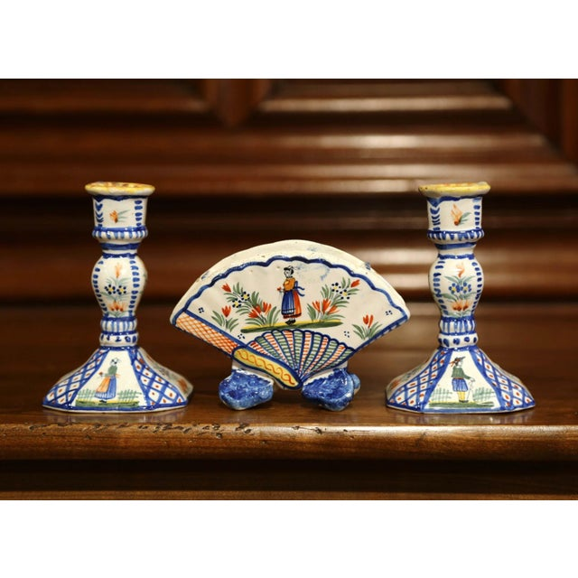 Mid-20th Century French Henriot Quimper Pair of Candlesicks With Matching Vase For Sale - Image 13 of 13