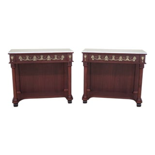 French Empire Marble Top Petticoat Console Tables - a Pair